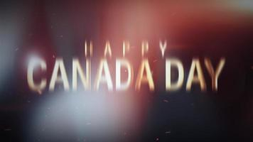 Happy Canada Day Gold Text with Canadian Flag video