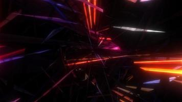 Flying Into Modern Glowing Digital Geometric Virtual Tunnel video