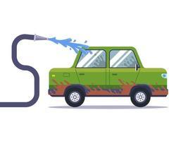 lavar un coche muy sucio con una manguera. vector