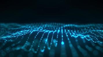 Technology Blue Digital Motion Waving Glowing Dots video