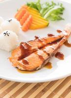 Salmon steak with teriyaki sauce photo