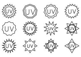 UV sterilization stamp. UV light disinfection. Badge set for ultraviolet sterilization. Ultraviolet germicidal irradiation. Surface cleaning, medical decontamination procedure. Vector
