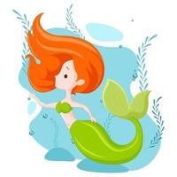 Beautiful Mermaid Cartoon vector