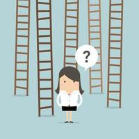 Escalera de opciones de empresaria hacia el éxito. vector