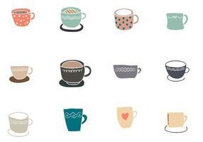 Set of Cute Colored Mugs vector