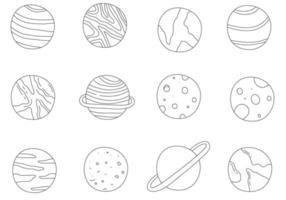 Different Outline Doodle Planets vector