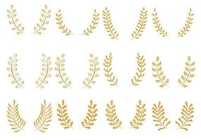 Gold Wreath Icons Set vector