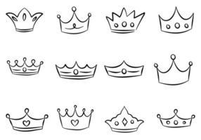 Cartoon Crown Doodle Set vector