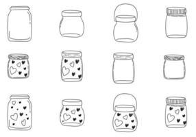 Vector Doodle Jars Set