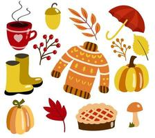 Autumn set with cute elements. Doodle style illustration vector