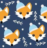 Cute fox seamless christmas winter pattern. Vector background
