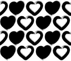 Seamless pattern with grunge hearts on white background. vector
