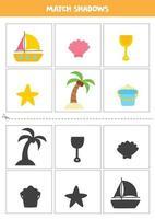 Find shadows of cartoon summer elements. vector