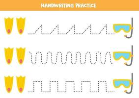 Tracing lines with cartoon underwater mask and flippers. vector