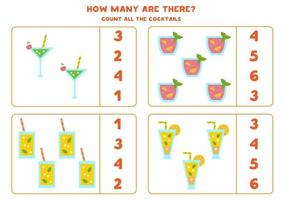 Counting game with cartoon cocktails. Math worksheet. vector