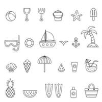 Collection of black and white summer elements. vector