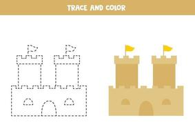 Trace and color cartoon sand castle. Worksheet for kids. vector