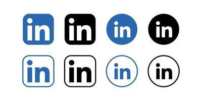 Linkedin icons set, isolated. Vector social media logo.