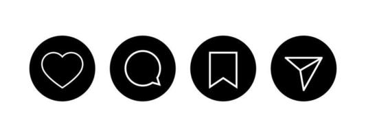 Social Black Interface Icons set. Like comment share save buttons. vector
