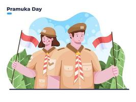 Illustration of Happy pramuka day or scout day at 14 august vector