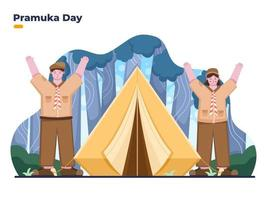 Illustration of Pramuka day with pramuka boy and girl at camp vector