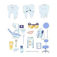 Dental medical set of design elements isolated on white background. vector