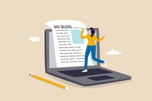 Content writer or blogger, start new blog writing article online vector