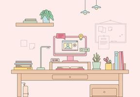 Pink study room vector