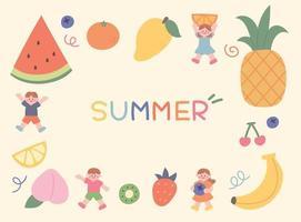 Summer fruits kids vector