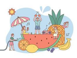 Summer fruits festival vector