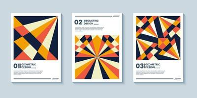 Abstract retro style cover background with geometric shape composition vector