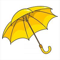 protección contra la lluvia. paraguas amarillo abierto. para la temporada de lluvias, otoño. vector