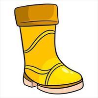 protección contra la lluvia. una bota de goma amarilla para caminar en charcos y barro. vector