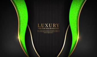 Abstract 3d black and green luxury background with golden glitters vector