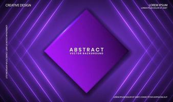 Abstract purple geometric background with neon light lines and rhombus vector