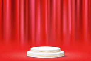 minimal geometric podium with red curtain. 3d vector illustration
