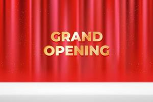 grand opening banner with red curtain vector