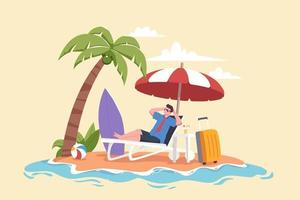 Man relaxing at the beach during summer holiday illustration vector