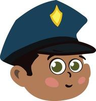 Cute Police Officer kid Face. Cute Adorable Boy Child with Police Hat. vector