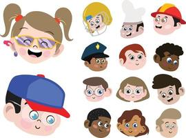 Set of Cute and Adorable Kids Boys Girls Expressions Set vector