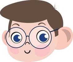 Cute Boy Child Face. Smart and Adorable Boy Child with Spectacles. vector