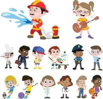 Kids in different professions. Boys and Girls Dress as Professionals. vector