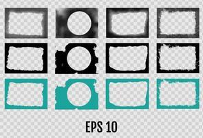 Set of grunge frames Empty border background vector