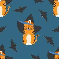 Seamless pattern cartoon tabby cat wearing a witch hat and bats vector