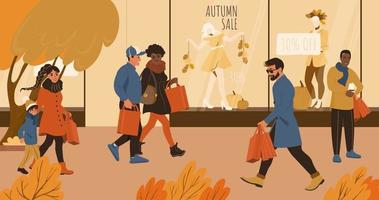 People on the autumn sale shopping walking in the city vector