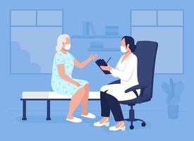 Medical consultation flat color vector illustration