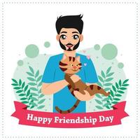 Poster of boy celebrate friendship day with cat vector