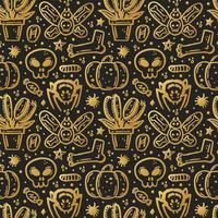 halloween, seamless, patrón, calabaza, araña, cráneo, dulce, insecto vector
