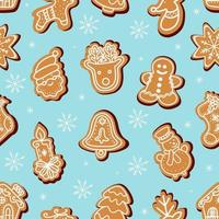 pattern of traditional gingerbread cookies for Christmas vector