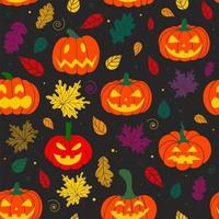 Halloween pumpkin pattern with autumn leaves on a black background vector